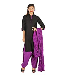 YASHKA WOMEN'S BLACK COTTON SATIN WITH PURPLE CONTRAST KURTA PATTI