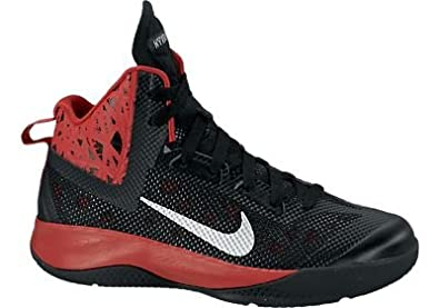 Boys Nike Hyperfuse 2013 Basketball Shoe Black University Red Metallic Silver by Nike