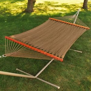 82″ x 55″ Tight Weave Golden Brown Soft Polyester Rope Caribbean Double Hammock