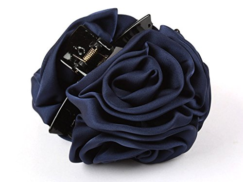 ヘアクリップ 薔薇 花 6輪 群青色