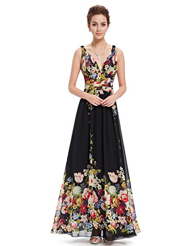 Ever Pretty Womens Floral Print Formal Evening Dress 8 US Black Printed