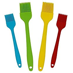 Kitcheek Silicone Pastry Basting Grill Barbecue Brush 4 Bright Color Assorted 2 Large & 2 Small