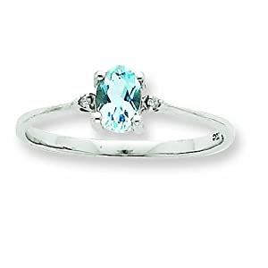 14k White Gold Diamond and Aquamarine Birthstone Ring