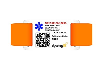 "Dynotag® Web/GPS Enabled QR Code Smart Military Style Medical and Emergency Contact Information w. Adjustable Wristband (6.1""-8.66"" dia.) from Dynotag"
