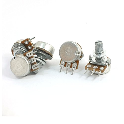 5Pcs B1K 8mm Metal Rotating Shaft Rotary Single Linear Potentiometer