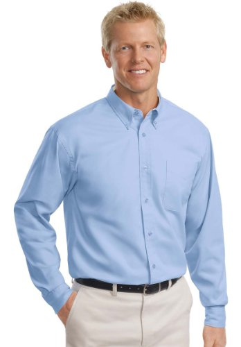Port Authority Men'S Big And Tall Long Sleeve Easy Care Dress Shirt, Light Blue/Light Stone, Xx-Large Tall