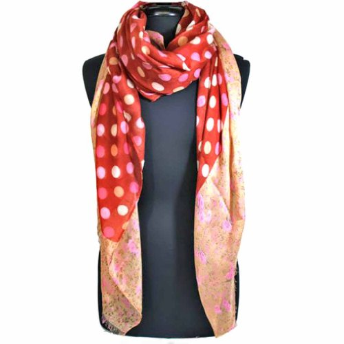 Luxury Divas Pink Multi Color Polka Dot & Floral Printed Long Sheer Scarf Wrap front-468010