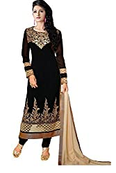 Clickedia Women's Georgette salwar Dress Material(Black_Free Size)