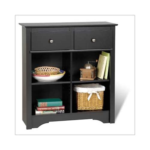 Sonoma Buffet Table with 2 Drawers in Black Finish By Prepac Furniture