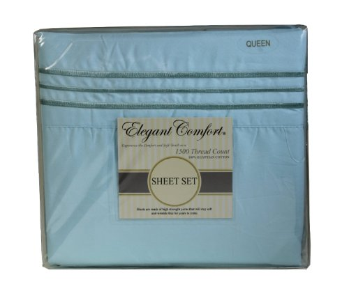 "Elegant Comfort ® 1500 Thread Count Luxurious 100% Manufacturer Guaranteed Ultra Soft 4 Pc Sheet Set, Deep Pocket Up To 16"" - Wrinkle Resistant , King Aqua front-1039098"