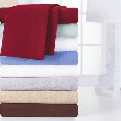 Pointehaven Heavy Weight Solid Flannel Sheet Set, Full, Merlot