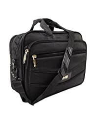 AYS Stylish Black Colour Faux Leather Specious Laptop Office Bag Travel Bag
