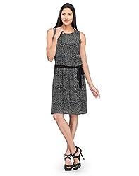 Colornext Georgette Black Dress for Women (Size: X-Large)