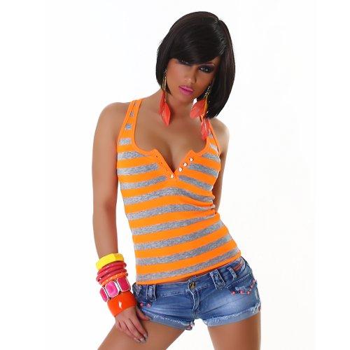 Sexy Top Shirt Trägertop Feinripp-Optik gestreift Strassknöpfe 32,34,36,38 - Neon Grün oder Orange