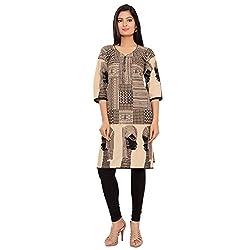 Joypur Trsors Womens Regular Fit Straight Kurta (JTDP0915_0010, Beige, 4XL)