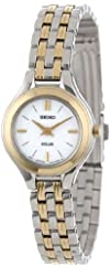 Seiko Womens SUP004 Two-Tone Solar Silver Dial Watch