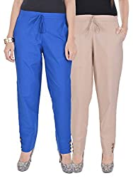 Kalrav Solid Blue and Beige Cotton Pant Combo