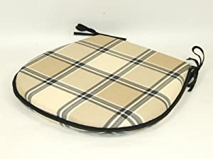 Qualilty D Shaped Checked Black Beige Cream Dining Patio