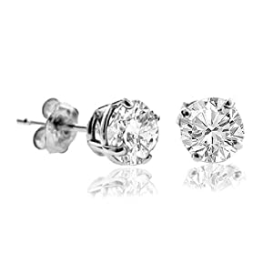 1/5 CT Diamond Stud Earrings 14k White Gold (I1-I2 Clarity)