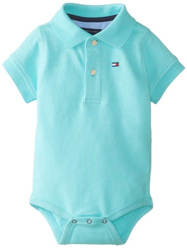 Tommy Hilfiger Baby-Boys Infant Short Sleeve Ivy Bodysuit, Minty Fresh, 9 Months