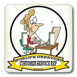 Dooni Designs Worlds Greatest Cartoons - Funny Worlds Greatest Customer Service Rep Occupation Job Cartoon - Light Switch Covers - double toggle switch