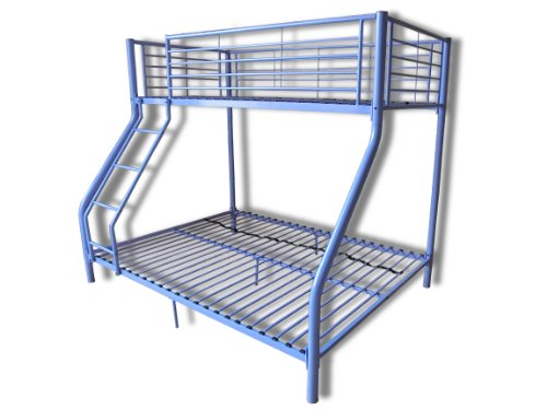 New Purple Metal Triple Children Sleeper Bunk Bed Frame No Mattress Double Bed Base Single On Top
