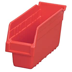 Akro-Mils 30040 ShelfMax Plastic Nesting Shelf Bin Box, 12-Inch Length x 4-Inch Width x 6-Inch Height, Case of 16, Red