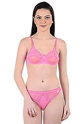 AnS Enterprise Women's Net and Hosiery Material Bra & Penty in Pink Color- 34