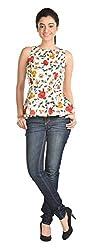 Aaina Women's Regular Fit Top (Ast001B_Medium, White, Medium)