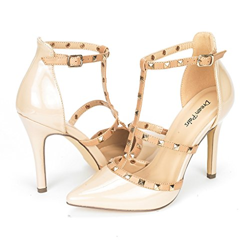 DREAM PAIRS ROCKSTAR-HIGH Women's D'Orsay Style Metal Studs Pointy Pumps Classic Stiletto Heel Shoes New Nude-Patent Size 10