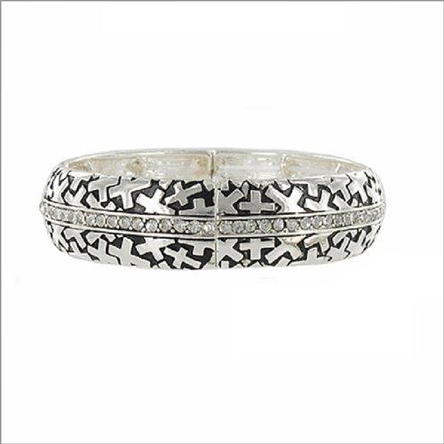 Cross Imprint & Stone Hinged Bracelet #038374