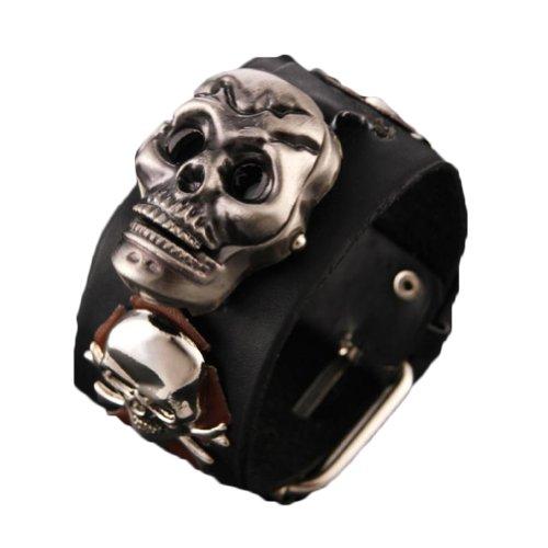 Vintage Skull Wrist Watches Leather Strap Analog Unisex Quartz Watches Black