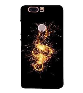 PrintVisa HUAHONORV8-Music Note Fireworks Design Plastic Back Cover for Huawei Honor V8 (Black)