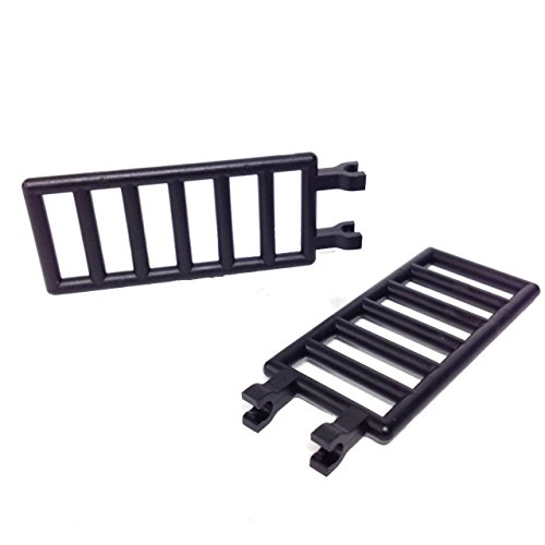 Lego Parts: Bar 7 x 3 with Double Clips - Ladder (PACK of 2 Black Ladders) - 1
