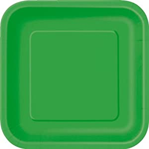 "Pack of 14 x EMERALD GREEN Square Paper Plates (9""/23cm)"