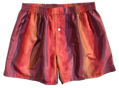 Maroon Stripes Silk Boxers - LARGE - by Royal Silk - Silk Boxer Shorts