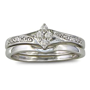 Affordable Finely Crafted Diamond Bridal Wedding Ring Set in Sterling Silver,Available Ring Sizes 4-9, Ring Size 4