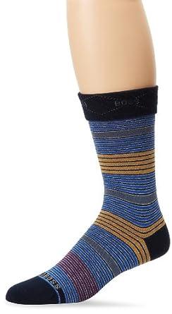 BOSS HUGO BOSS Men's Multicolored Microstripe Dress Mid Calf Sock, Navy, One Size
