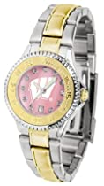 Wisconsin Badgers Competitor Ladies Watch with Mother of Pearl Dial and Two-Tone Band