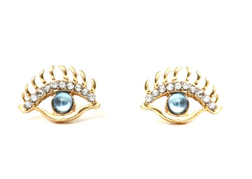 Glam Eye Ball Stud Earrings Blue Gold Vintage Crystal Lashes Posts Fashion Jewelry