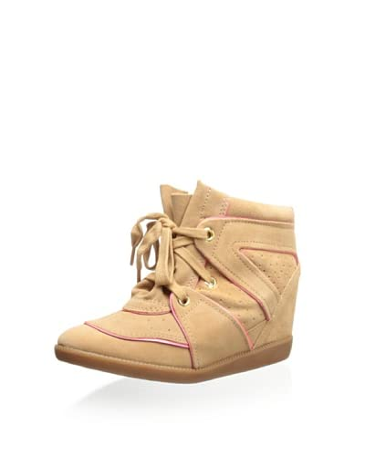 Schutz Women's Saint Bridget Wedge Sneaker  [Caramel/Super Pink]
