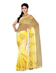 De Marca Chikoo Yellow Shaded Art Silk Designer G-346 Saree