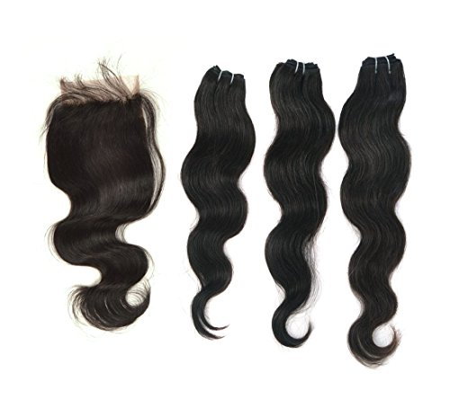 "Crazy Queen Human Remy Virgin Hair Free Part Lace Closure(4""*3.5"") With Bundles Mixd 3Pcs Body Waveas Wigs Natural Black (20""22""24"" Hair Weft+16"" Lace Closure)"