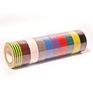 Nastro isolante Set con 10 x Rotoli da 10 m x19mm PVC elettrico Arcobaleno  eBay