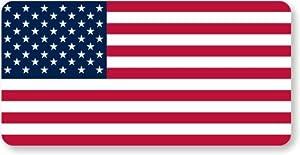"US Flag Helmet Label, HatHuggersTM Conformable Vinyl Labels - Spot Colors, 5 Decals / Pack, 3"" x 1.5"""