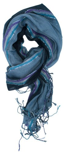 LibbySue-Summer Gauzy Sparkley Striped Scarf