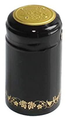 1 X Black/Gold Grapes PVC Shrink Capsules for Wine Making - 30 per bag