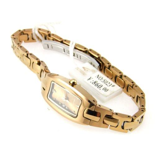 Jk Glandu Classic Elegance Not Fade Diamond Tungsten Steel Waterproof Woman Watch (Gold Plated)