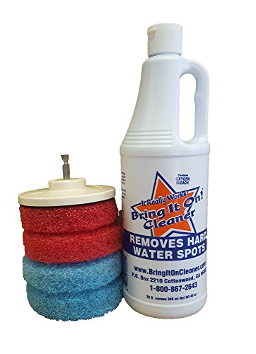 Water Spot Remover Plus Scrubbing Drill Pads, Bathroom Cleaning Tools, Clean Shower doors, tile and grout, windows, Power Driven Scrub Pads. Attach to Household Drill (Handheld Premium Pet Turbo Brush compare prices)