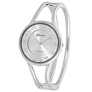 Geneva Platinum Polished Bangle Women's Watch